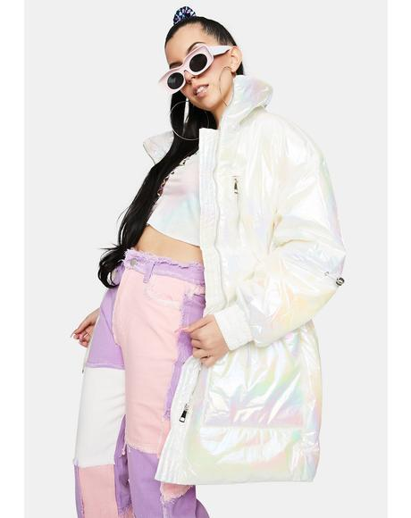 Opal Pearl Long Puffer Jacket