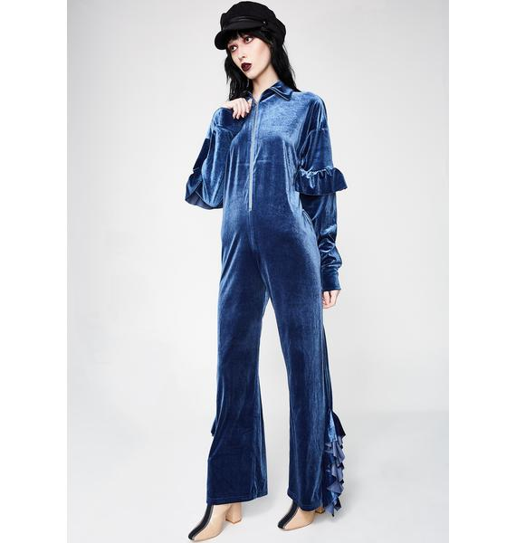 Little Sunny Bite Velour All In One Jumpsuit
