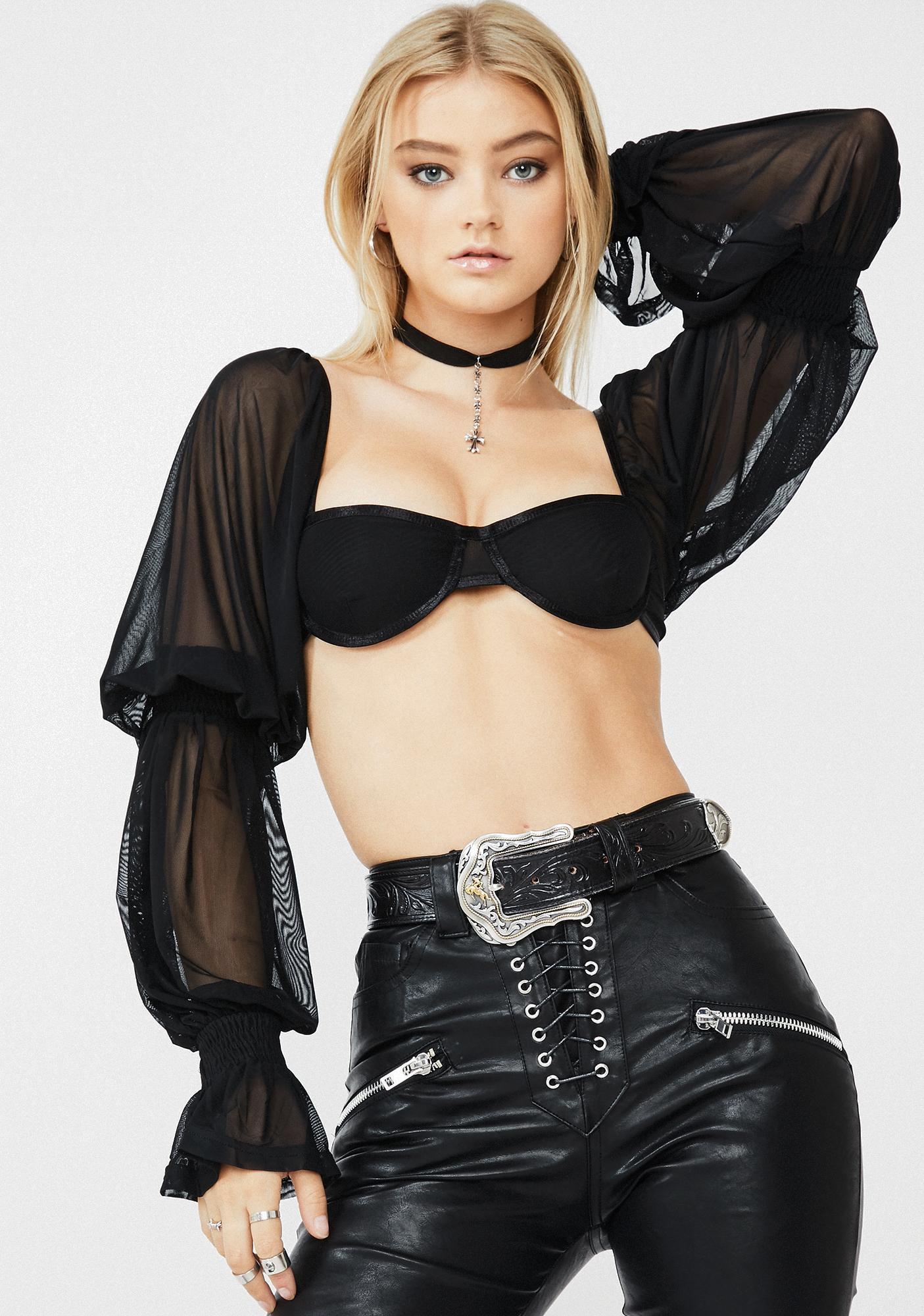 ZYA Black Lolita Top