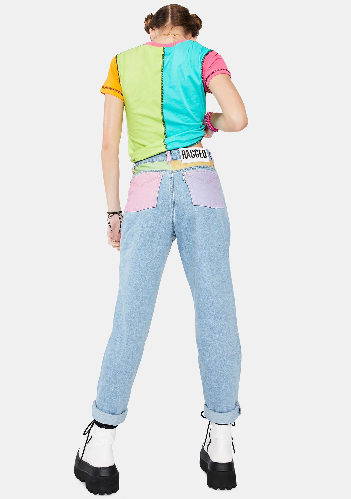 The Ragged Priest Illuminate Colorblock Pocket Mom Jeans