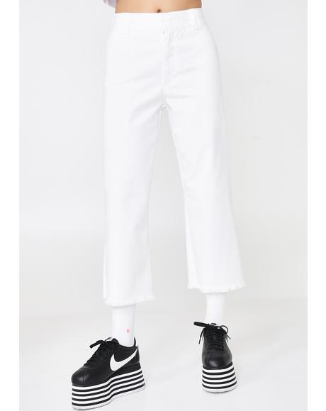 Work Crop Fray Hem Pants
