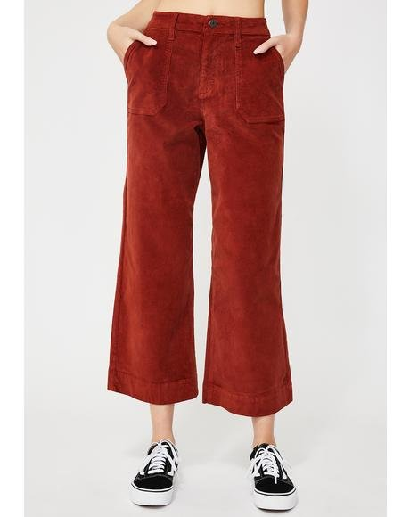 Burnt Orange Corduroy Wide Leg Pants