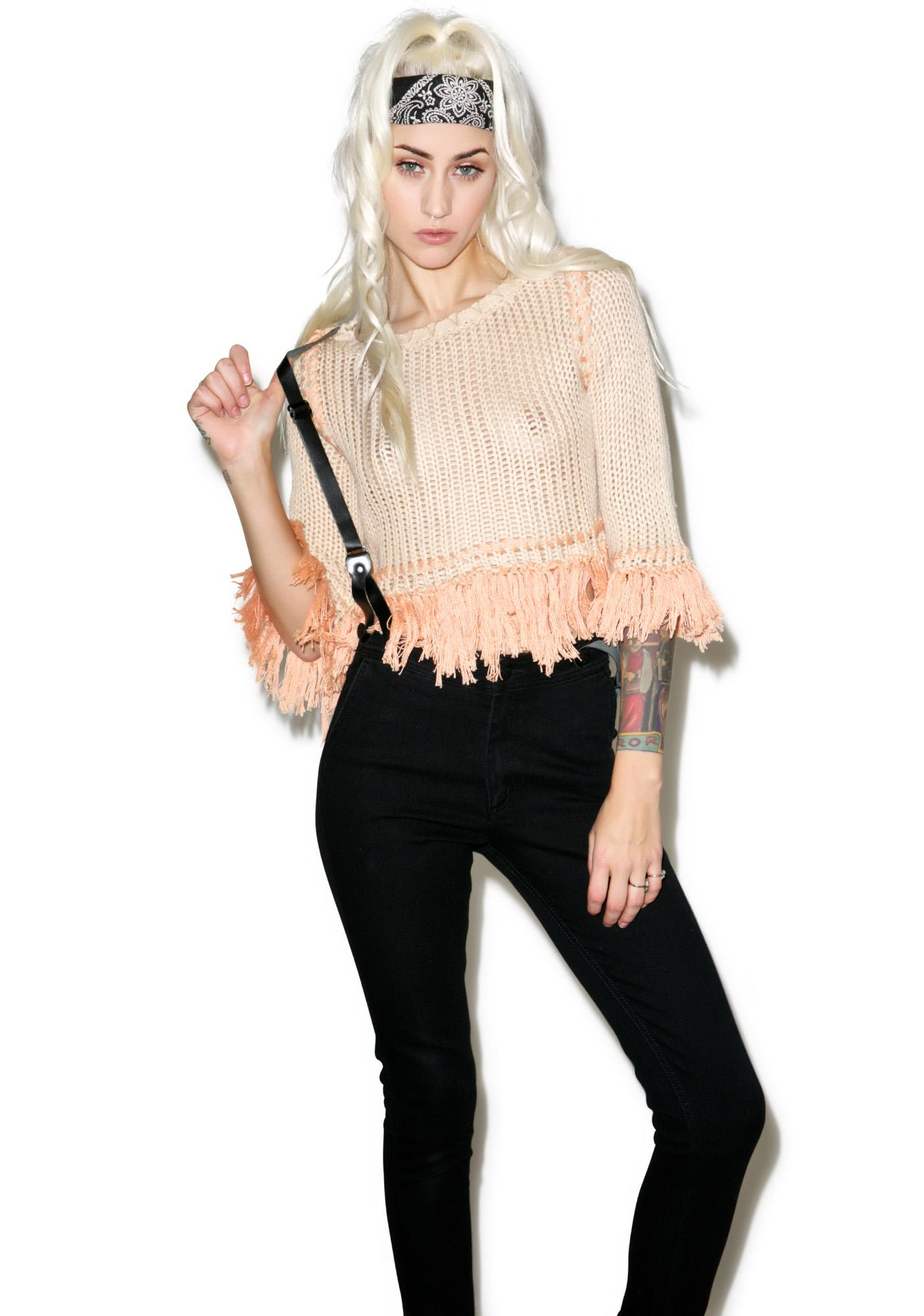 For Love & Lemons Denver Rust Knit Crop Top