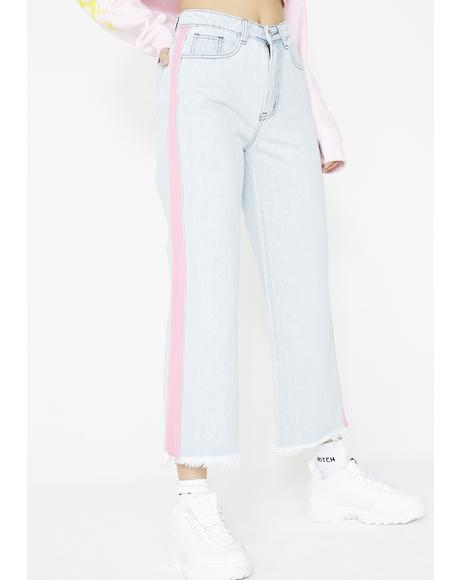 Pink Tape Light Wash Culotte Jeans