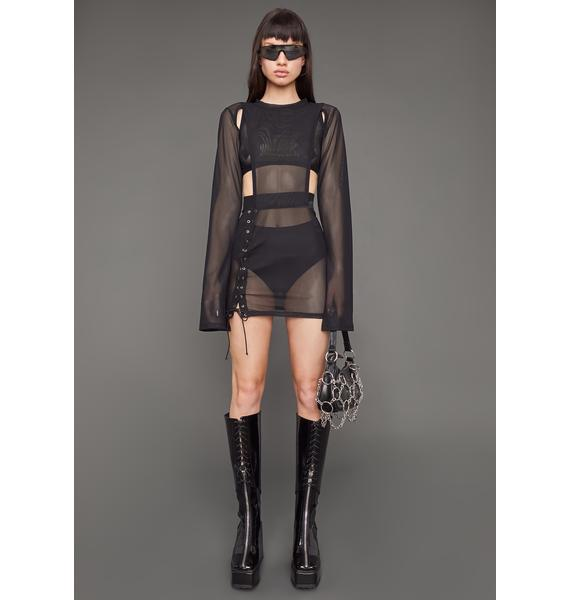 Poster Grl Ruthless Heart Mesh Lace-Up Dress