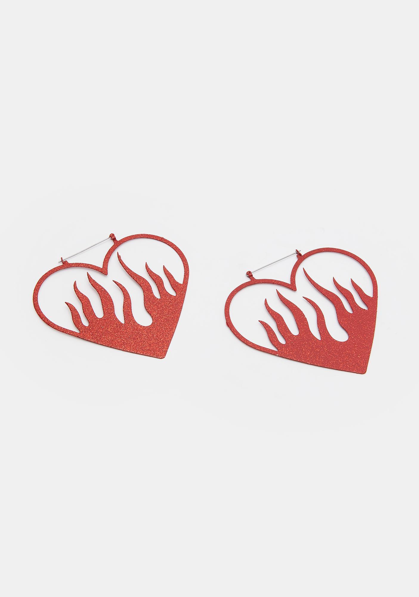 Too Fast Heart Of Fire Red Glitter Hoop Earrings