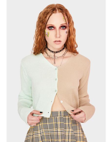 90's Split Color Cropped Cardigan
