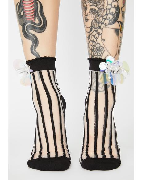 Witch Born For Glitz Striped Socks
