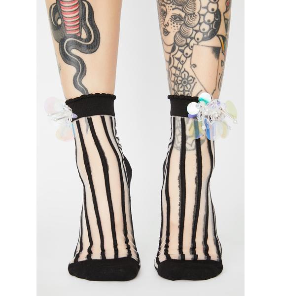 Witch Born For Glitz Striped Socks