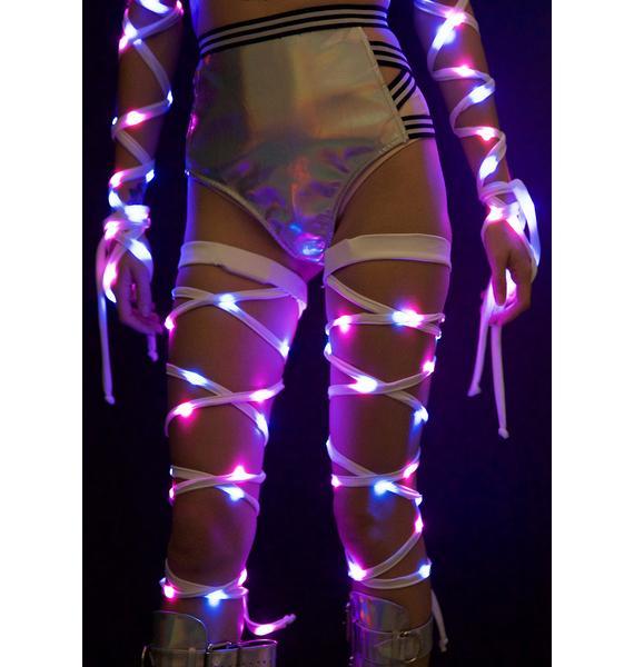 J Valentine White Hot Light-Up Leg Wraps