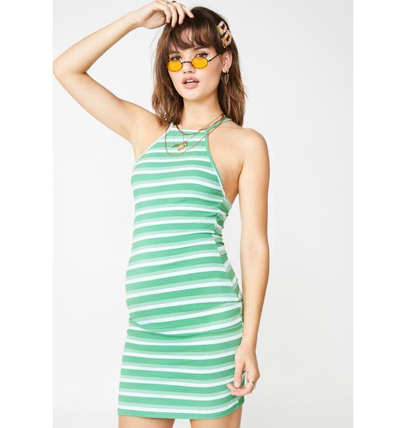 Daisy Street Striped Ribbed Halter Dress