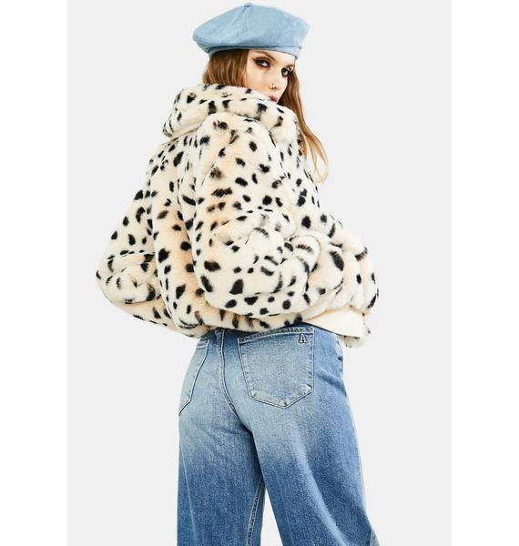 4SI3NNA Hailey Leopard Faux Fur Jacket