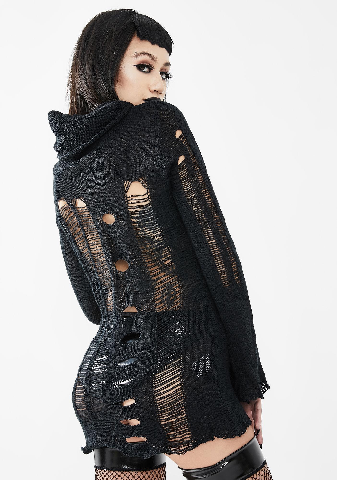 Devil Fashion Distressed Knit Turtleneck Sweater