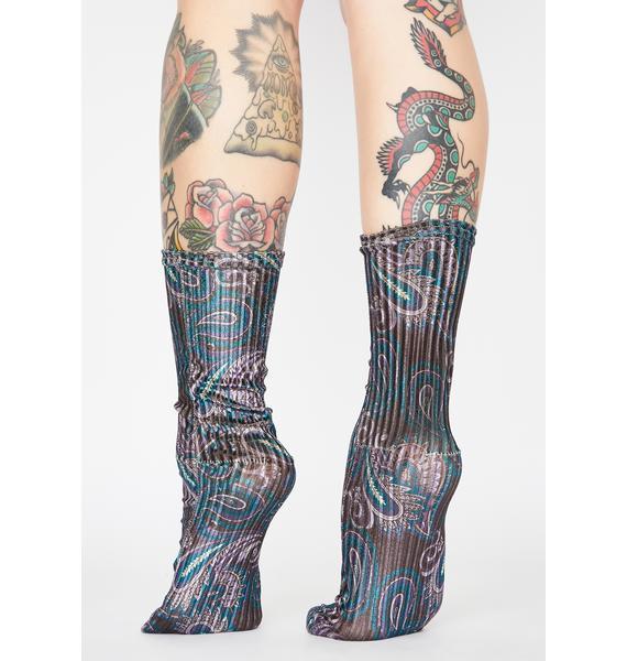 Free People Navy Trixie Printed Velvet Socks