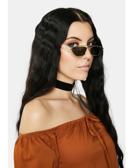 Gold No Good Deeds Cat Eye Sunglasses