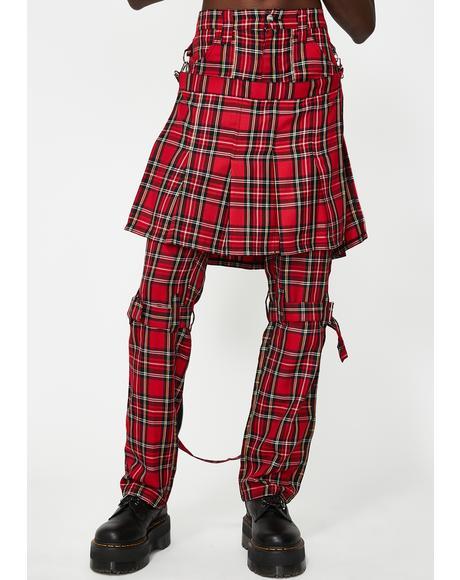 Double Bumflap Plaid Pants