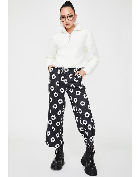 Black Flower Print Trousers