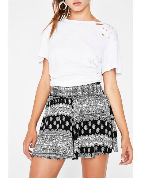 Around The World Printed Shorts