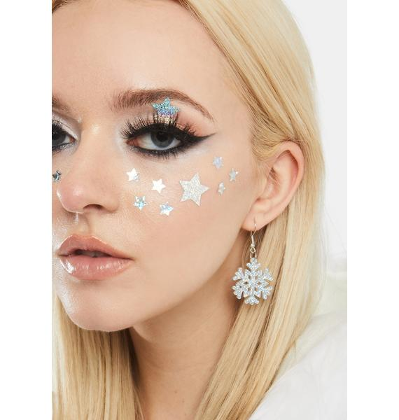 Festive Flurry Glitter Snowflake Earrings