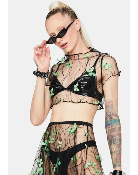 Lush Fairy Haven Sheer Butterfly Crop Top