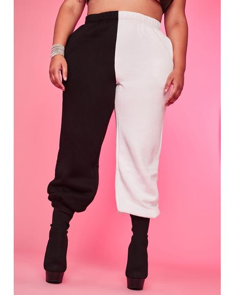 Domino Luxe Slacker Squad Two Tone Sweatpants