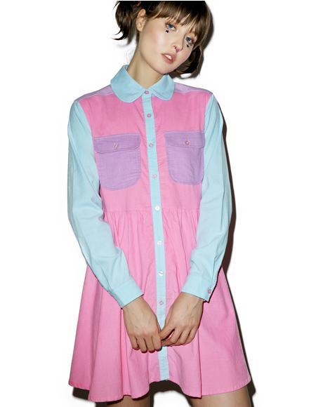 Pastel Panel Cord Dress