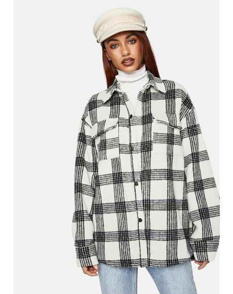 Checkered Button Up Shirt Jacket