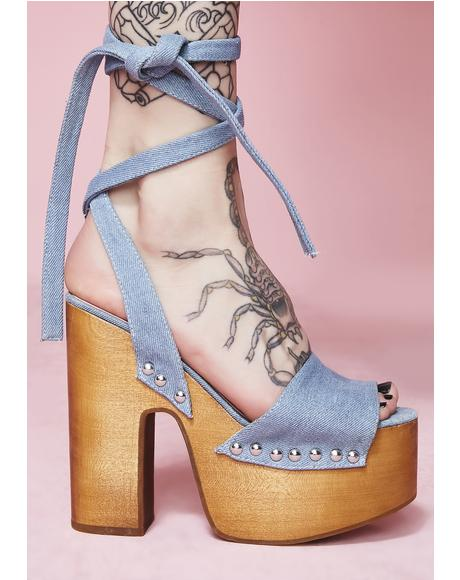 Serve Sass Denim Wrap Sandals