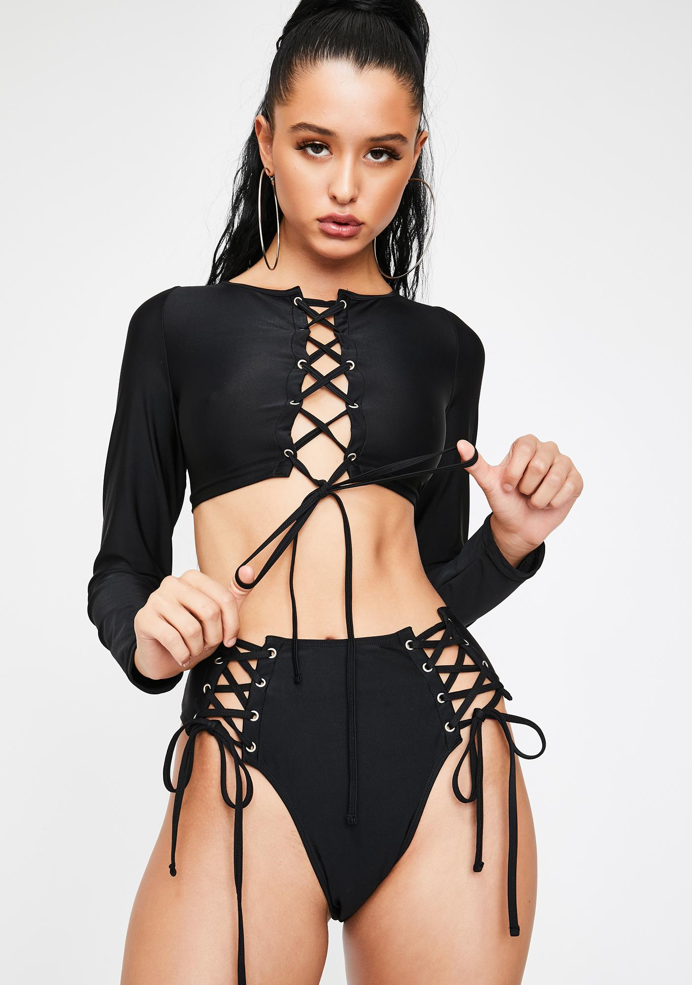 Poster Grl Undercover Hustler Lace Up Bikini Set