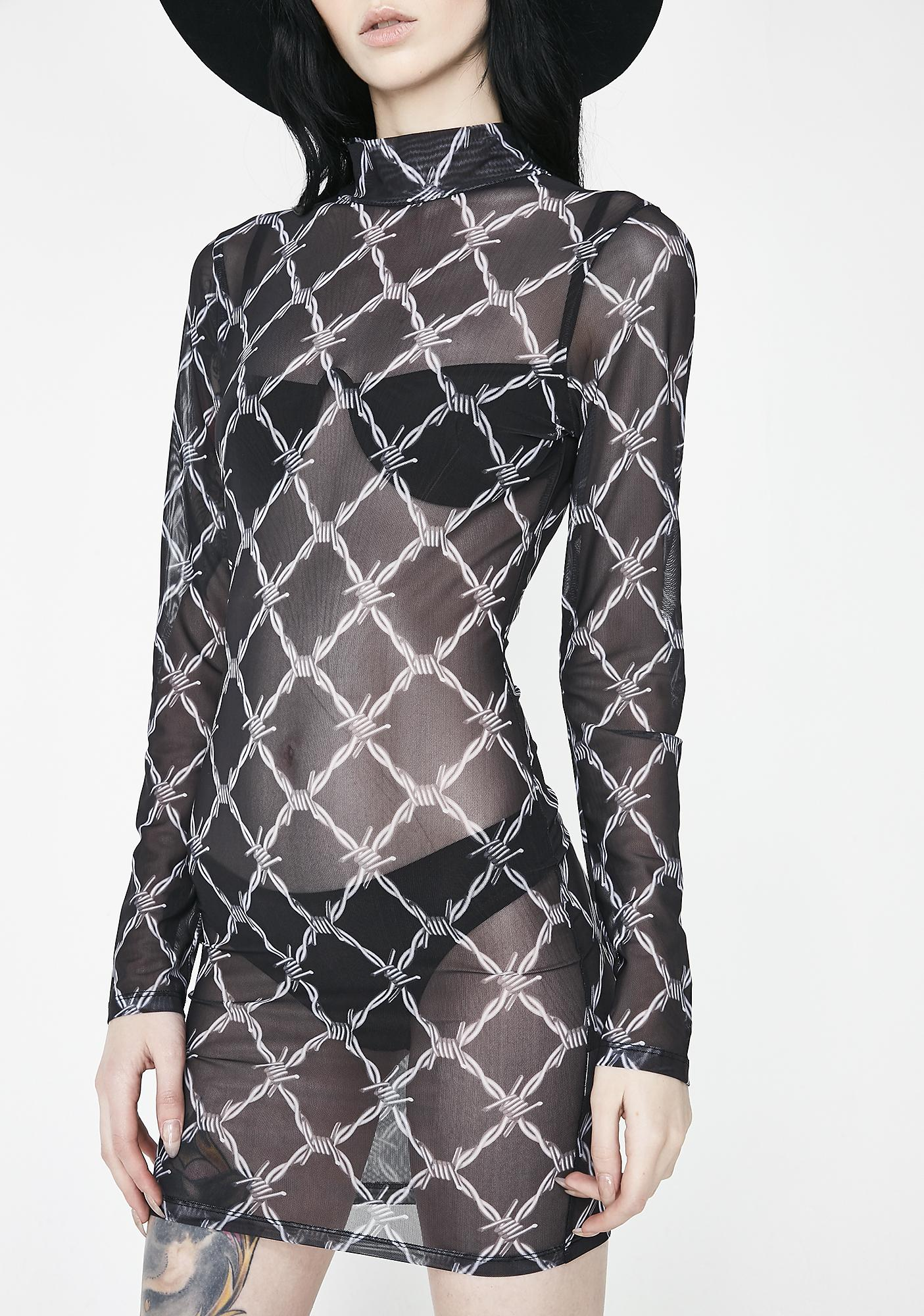 Jaded London Barbwire Mesh Dress