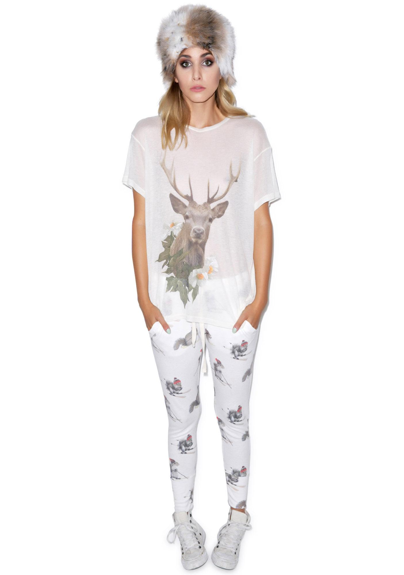 Wildfox Couture Forest Friend Wrecked Crewneck Tee