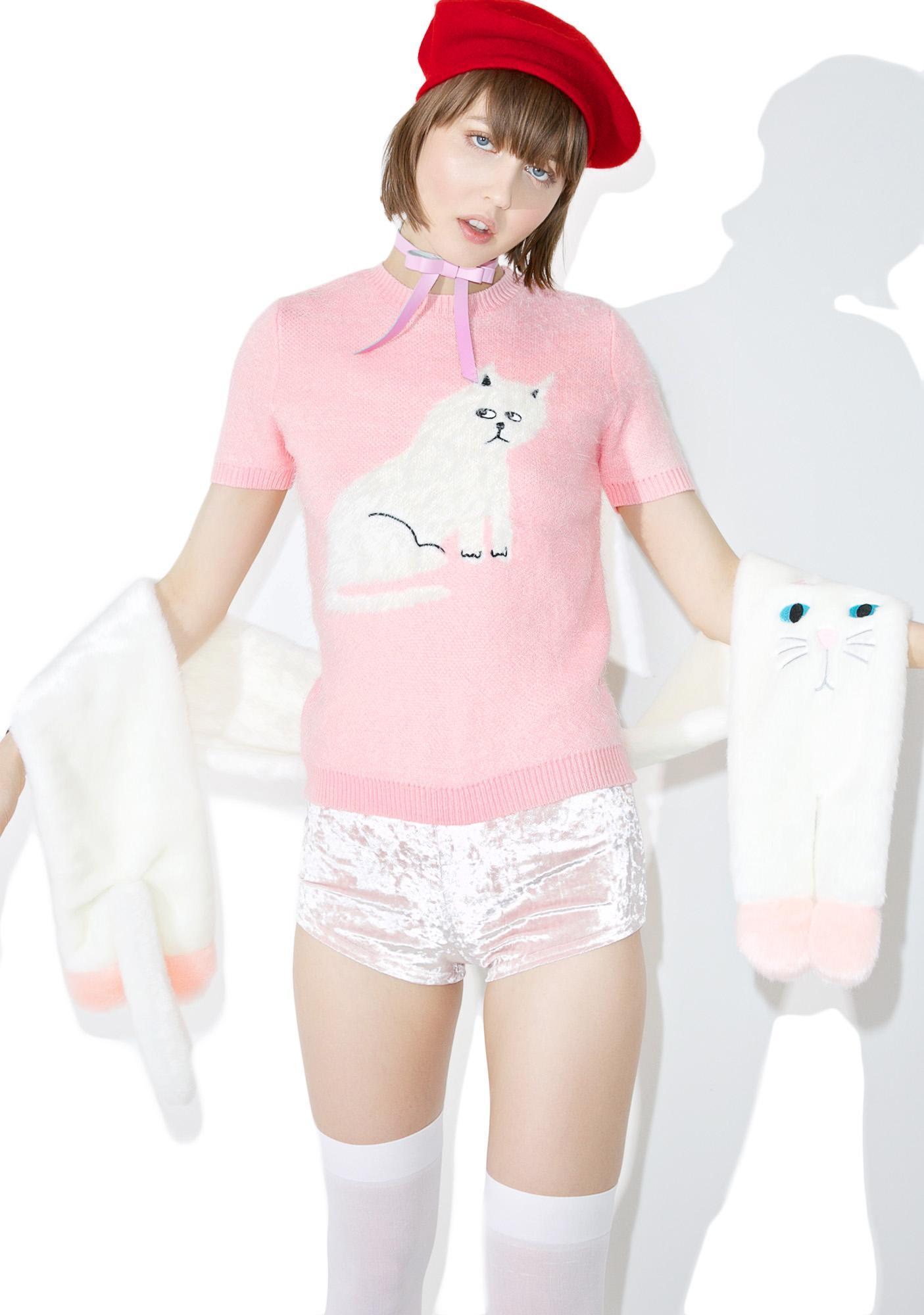 Lazy Oaf Furry Kitty Knit Top
