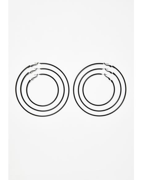Burst Of Fire Hoop Earring Set