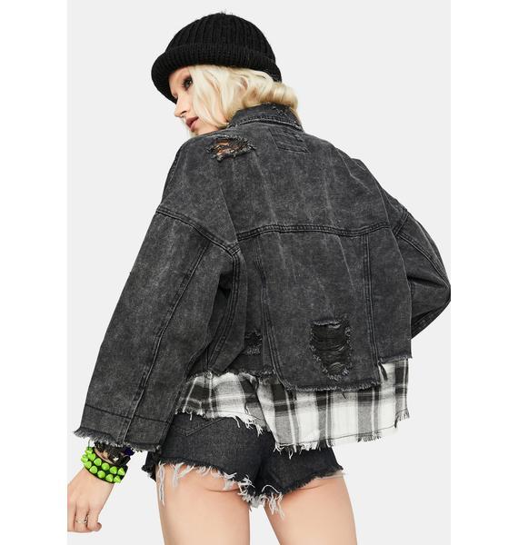 Brutal Mood Plaid Patched Denim Jacket