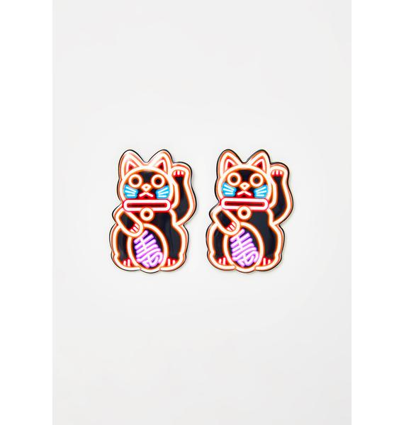 Kitty Lights Neon Earrings