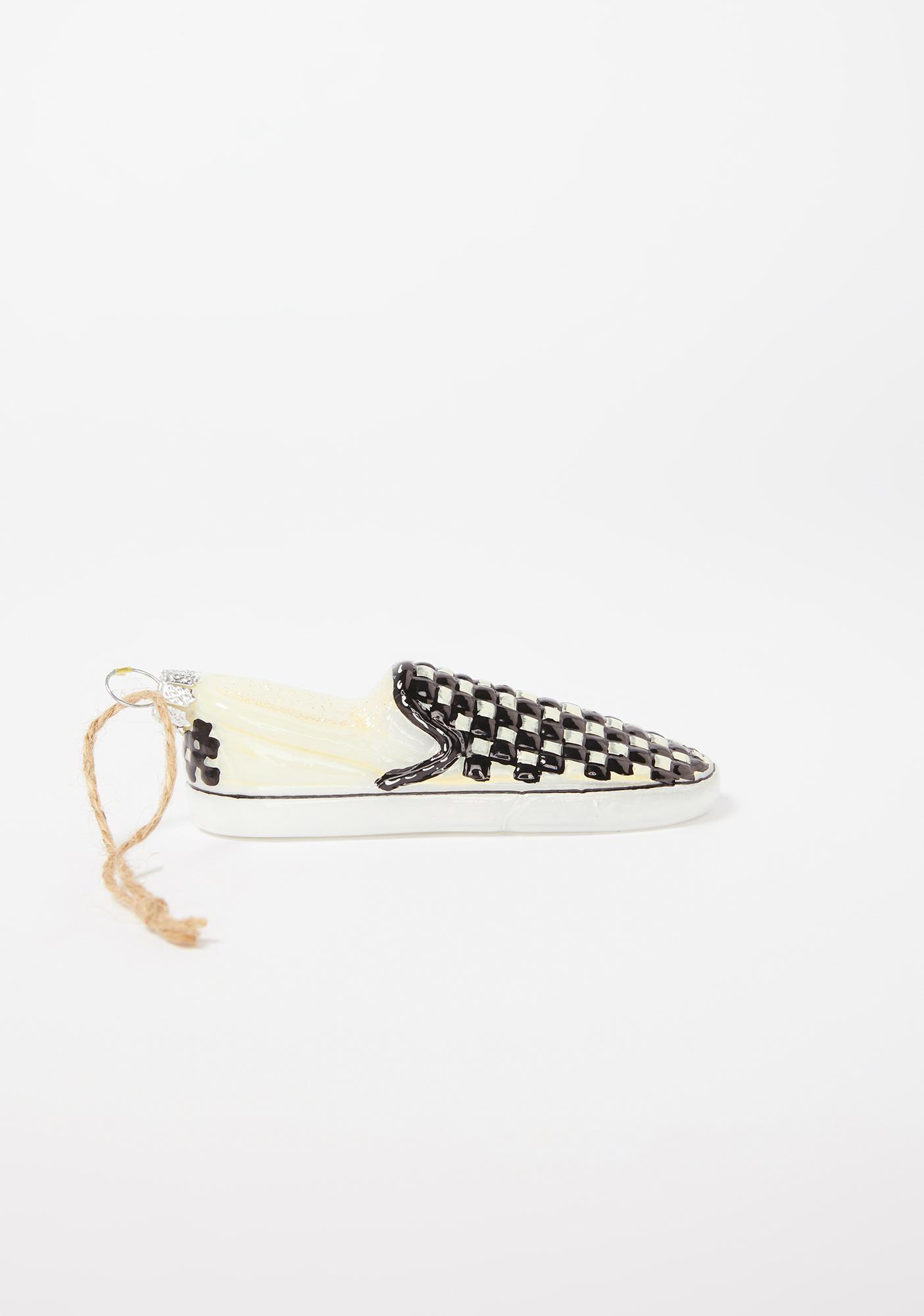 Santa's Sneakers Checkered Shoe Ornament