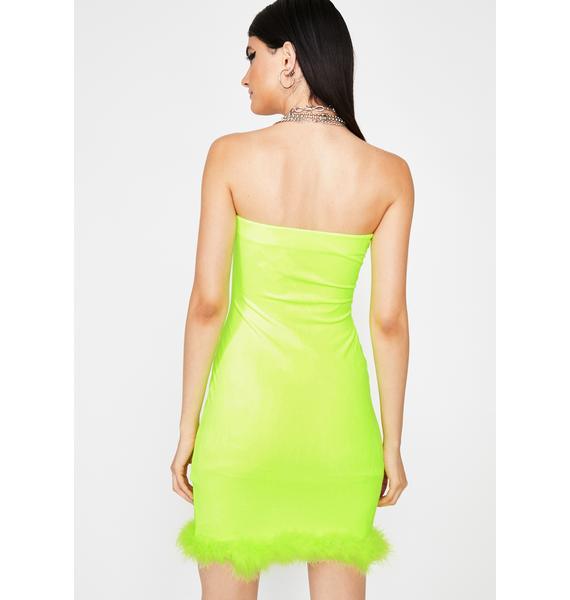Lime Hott Gossip Velour Dress