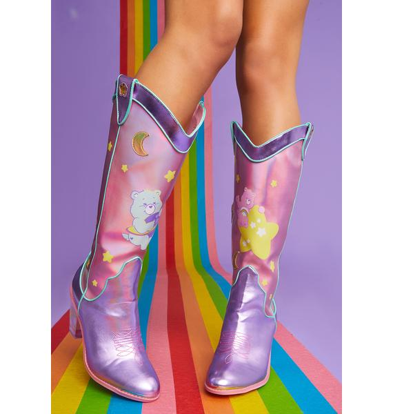 Dolls Kill x Care Bears Magical Moon Holographic Cowboy Boots