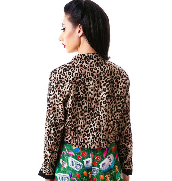 Sourpuss Clothing Eisenhower Leopard Jacket