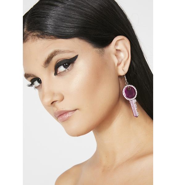 Key To Bling Rhinestone Earrings