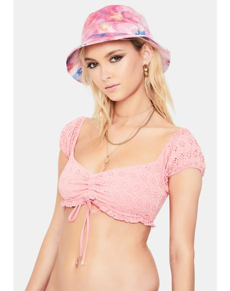 Coral Lottie Peasant Bikini Top