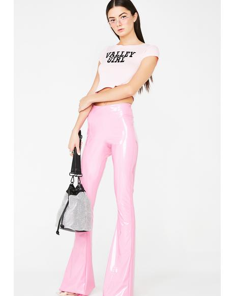 Cotton Candy PVC Flare Pants