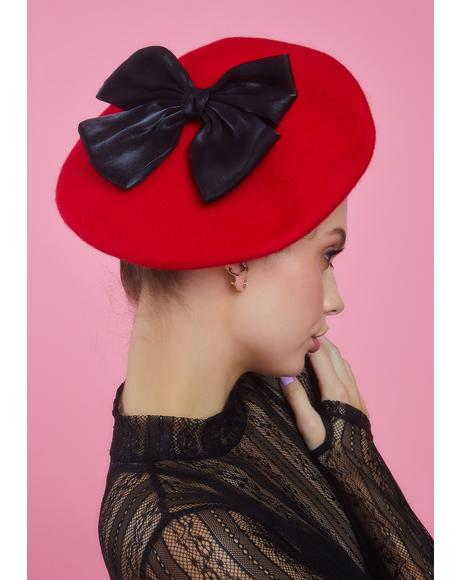 Scarlet Hillside Princess Bow Beret