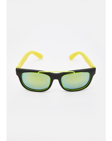 Neon Yellow 80's Fun Sunglasses