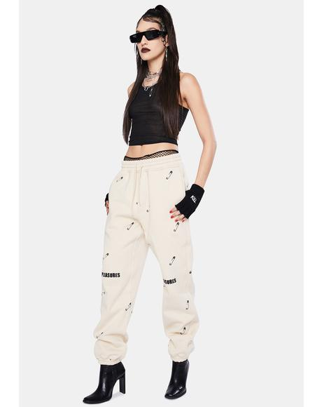 Tan Safety Pin Embroidered Sweatpants