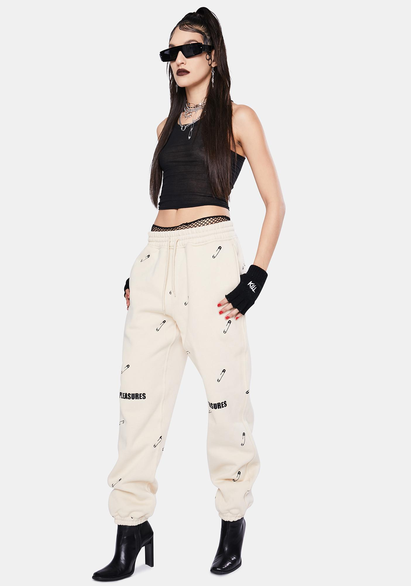 Pleasures Tan Safety Pin Embroidered Sweatpants