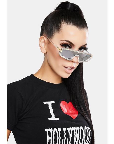 Chrome Getting Glam Rhinestone Sunglasses