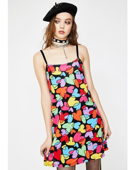 Rainbow Hearts Velvet Dress