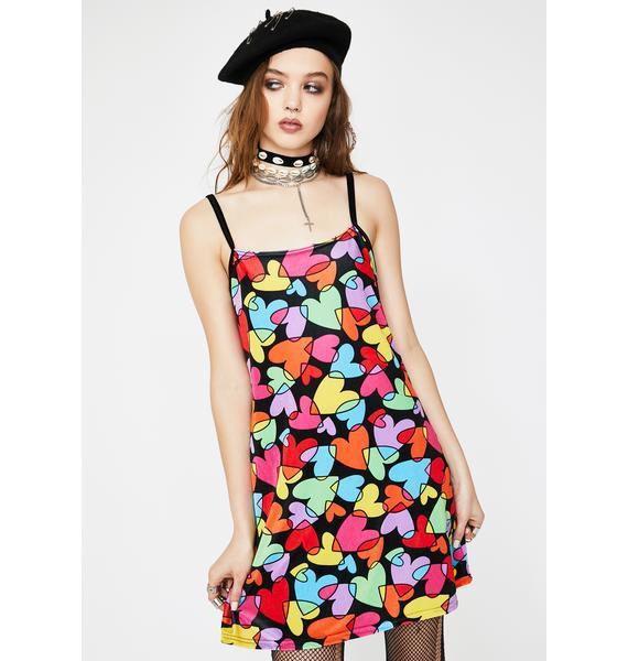 Tara Khorzad Rainbow Hearts Velvet Dress