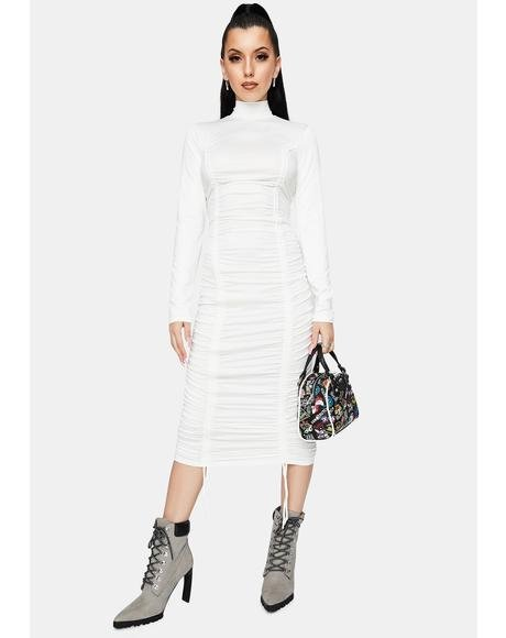 Angel Goddess Of Mod Mock Neck Midi Dress
